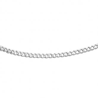 Chaine Carador maille gourmette diamantée 0,09 mm en or blanc 375/000, longueur 50 cm