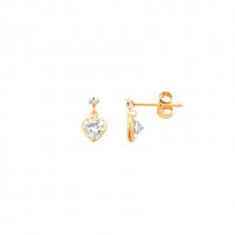 Boucles d'oreilles Carador cœur pendant oxyde de zirconium en or jaune 375/000