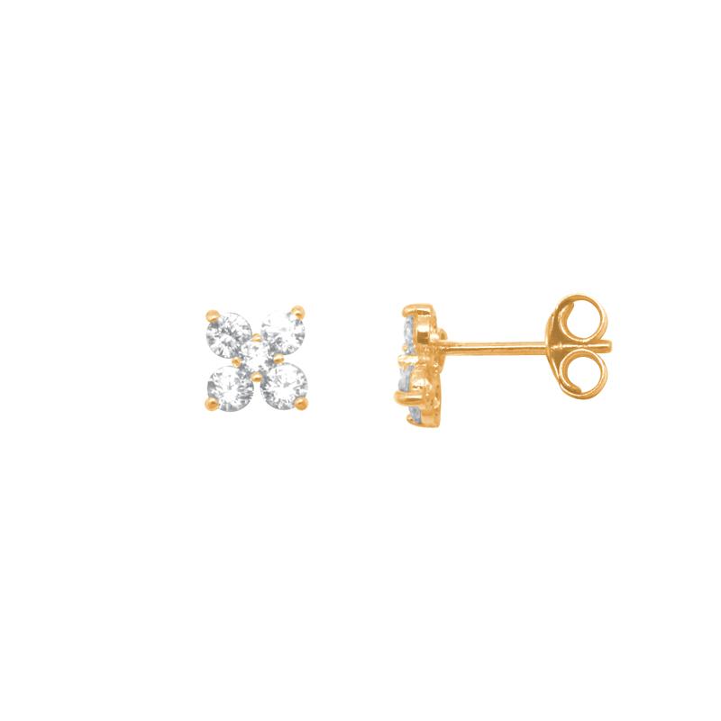 moins cher 60% pas cher acheter en ligne Boucles d'oreilles Carador fleur quatre pétales en or jaune 375/000 et  oxydes de zirconium