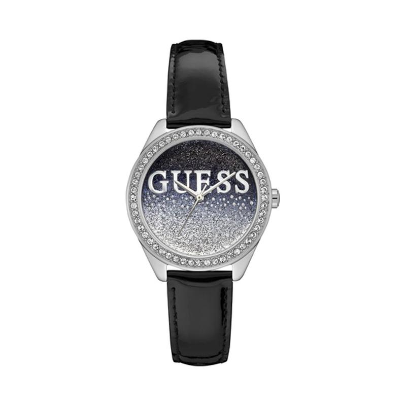 32c73873c1 Montre femme Guess bracelet cuir noir brillant W0823L2