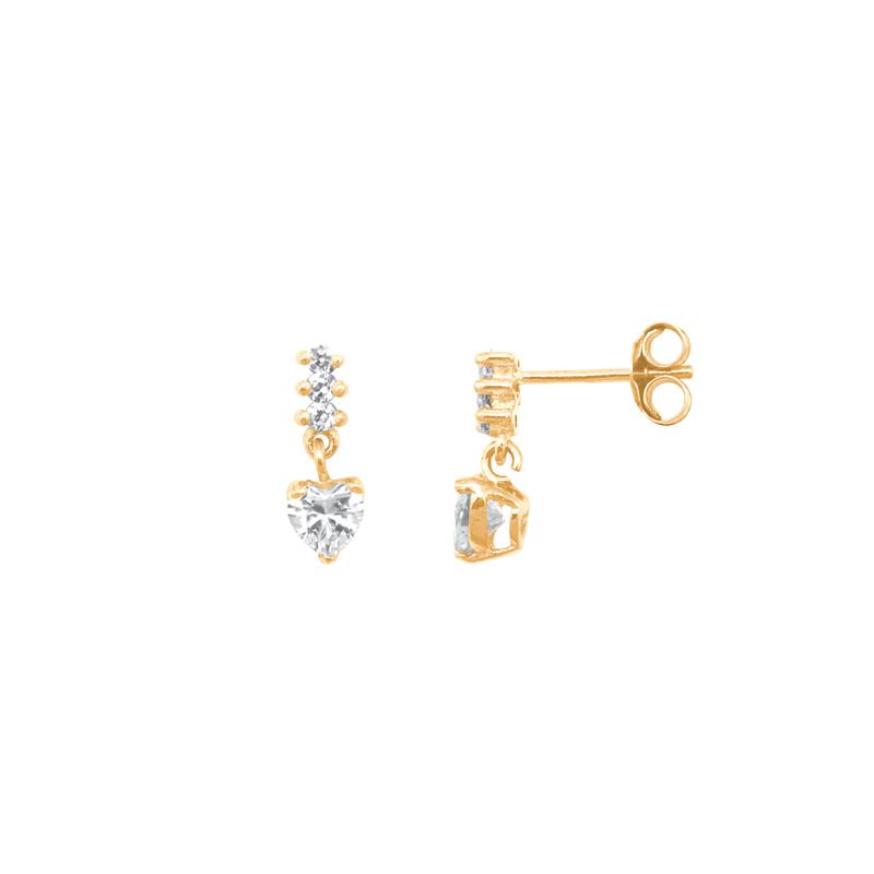 Boucles d'oreilles Carador pendantes cœur or jaune 375/000,zircons