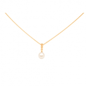 Collier Carador or jaune 375/000 et perle blanche 6 mm