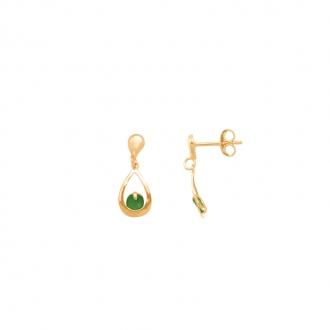Boucles d'oreilles Carador pendantes goutte or jaune 375/000 et emeraude