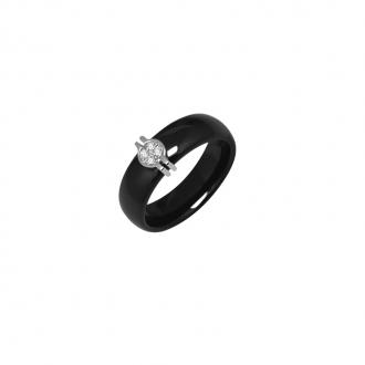 Bague Carador Or blanc 375/000 et céramique noire 0,5 cm
