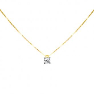 Collier Solitaire Carador Or jaune 375/000 et diamant 0,12 cts