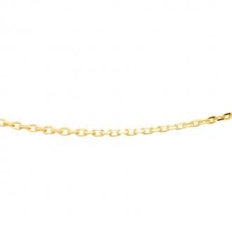 Chaine Carador maille forçat diamantée 0,1 mm en or jaune 375/000, longueur 42 cm