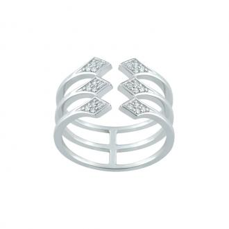 Bague ouverte EOL Rebel trois anneaux argent 925/000 et oxydes de zirconium