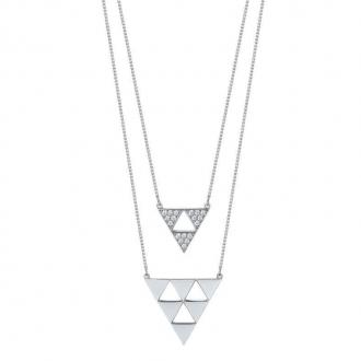 Collier EOL Arrow double chaine argent 925/000, oxydes de zirconium