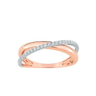 Bague LORE Eclipse or blanc et rose 375/000, oxydes de zirconium