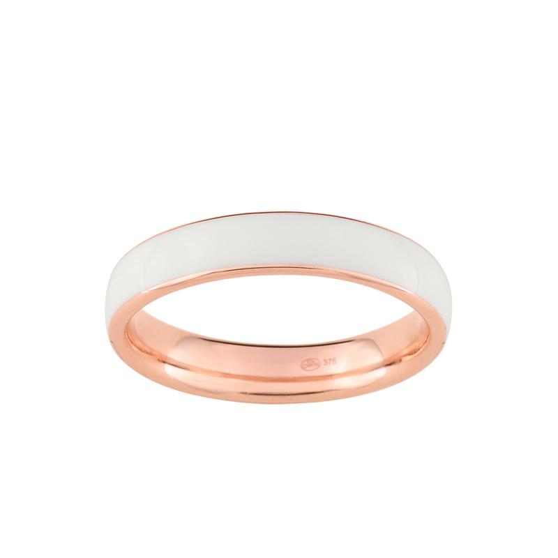 Bien-aimé Bague LORE Confidence simple anneau or rose 375/000, laque ivoire  TH68