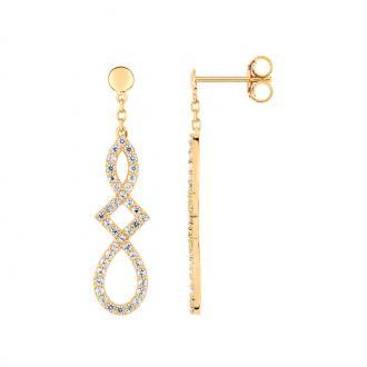 Boucles d'oreilles pendantes LORE Harmonie or jaune 375/000, oxydes de zirconium