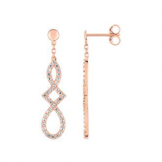 Boucles d'oreilles pendantes LORE Harmonie or rose 375/000, oxydes de zirconium
