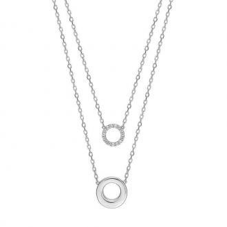 Collier double LORE Eclipse or blanc 375/000, oxydes de zirconium