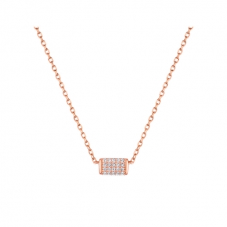 Collier LORE Promesse or rose 375/000, oxydes de zirconium