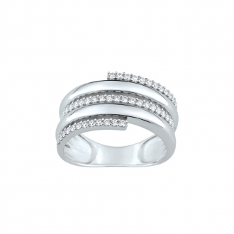 Bague LORE Eclipse cinq cercles or blanc 375/000, oxydes de zirconium