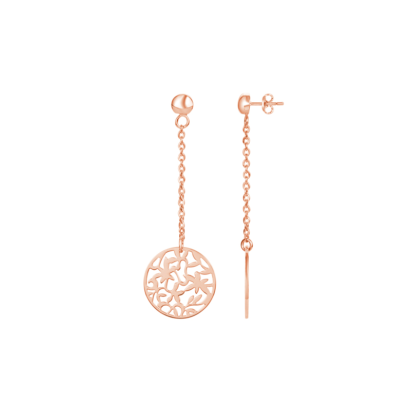 Boucle d'oreille pendante or rose