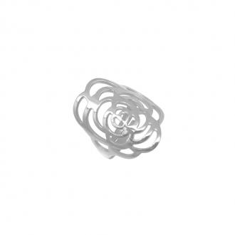 Bague Amporelle acier argenté motif fleur dentelle P-RS191/STEEL