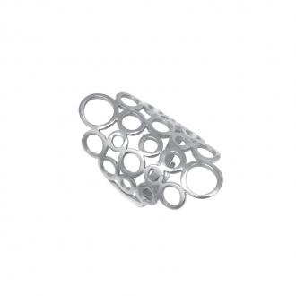 Bague Amporelle acier argenté motif bulles P-RS245/STEEL