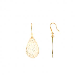 Boucles d'oreilles pendantes Amporelle acier doré plaque dentelle ovale WB537/IPG