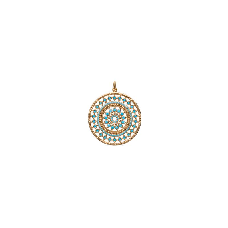 Pendentif Carador collection Ethnique plaqué or et turquoise,diamètre 30 mm