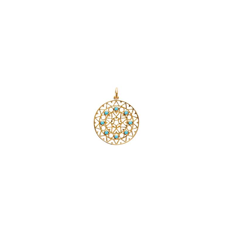 Pendentif Carador collection Ethnique plaqué or et turquoise,diamètre 27 mm