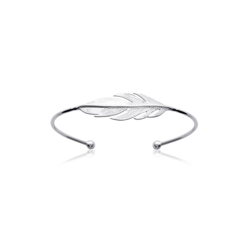 Bracelet rigide Carador motif plumes en pargent 925/000