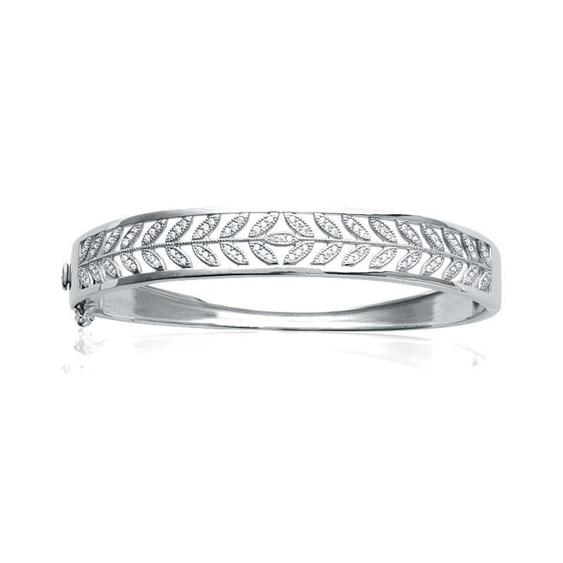 Bracelet rigide Carador motif laurier argent 925/000 et oxydes de zirconium