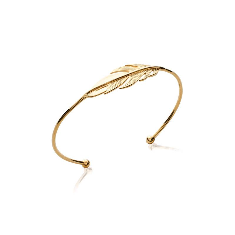 Bracelet rigide Carador motif plume plaque or