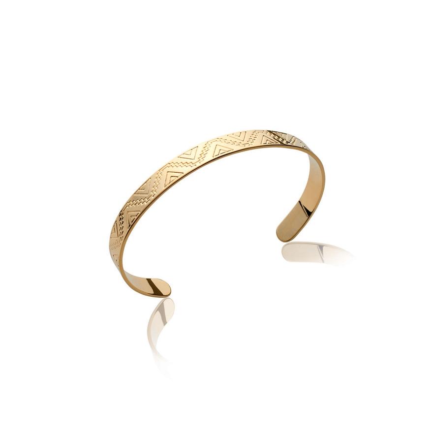 bracelet jonc carador large motif ethnique en plaqu or. Black Bedroom Furniture Sets. Home Design Ideas