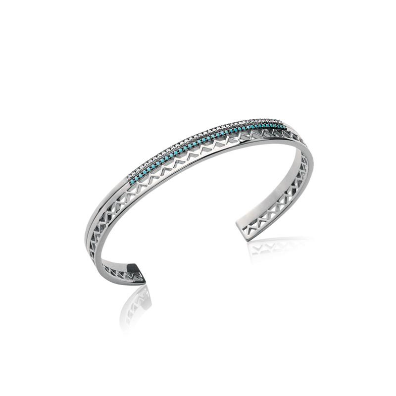 Bracelet Carador Ethnique rigide en argent 925/000 et turquoise, 6 mm