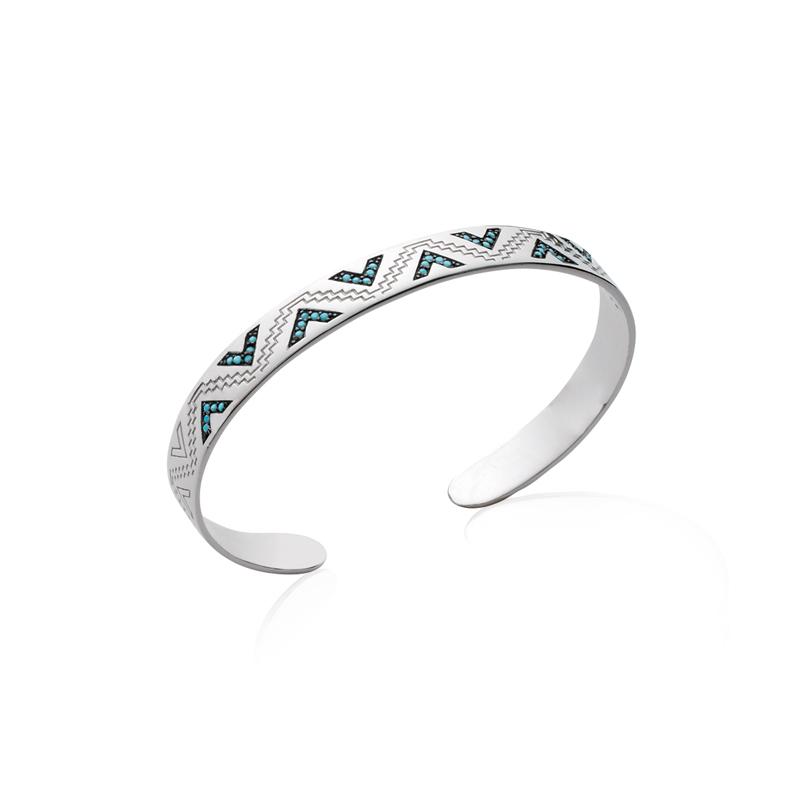 Bracelet jonc Carador motif ethnique argent 925/000 et turquoises