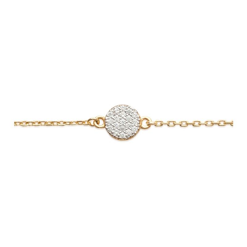 Bracelet Carador Pastille pavée d'oxydes de zirconium en plaqué or