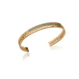 Bracelet Carador Ethnique rigide en plaqué or et turquoise, 6 mm