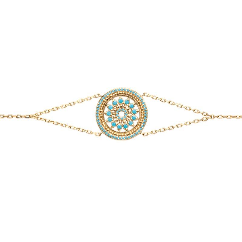Bracelet souple Carador motif ethnique plaqué or et turquoises