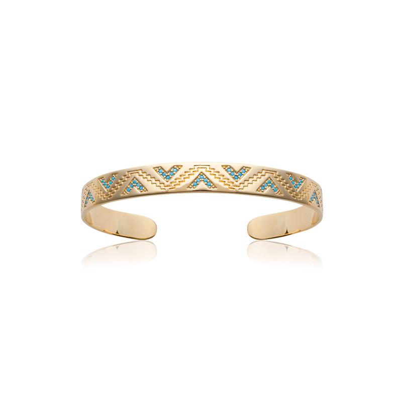 bracelet jonc carador motif ethnique plaqu or et. Black Bedroom Furniture Sets. Home Design Ideas
