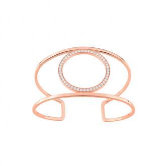 Bracelet EOL New Minimale jonc double cercle serti d'oxydes de zirconium en plaqué or rose