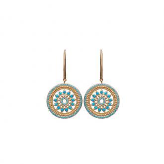 Boucles d'oreilles Carador pendantes soleil aztèque plaqué or et turquoises