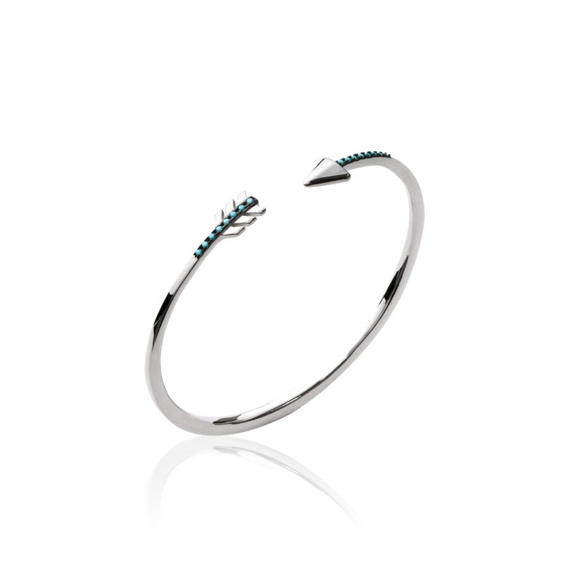 Bracelet jonc Carador motif flèche argent 925/000 et turquoises