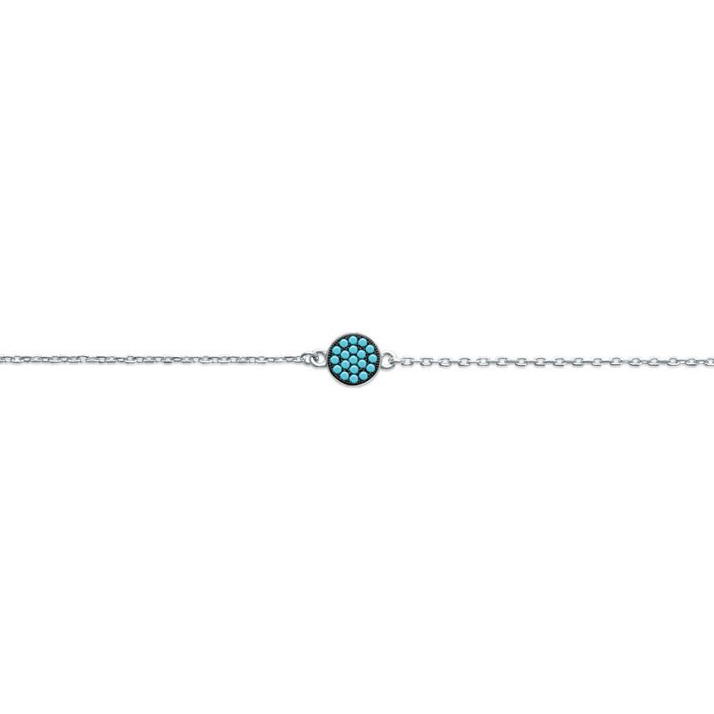 Bracelet Carador pastille pavée de turquoises en argent 925/000