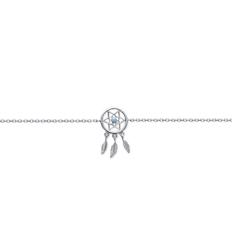 Bracelet Carador motif attrape-rêve en argent 925/000 et turquoise
