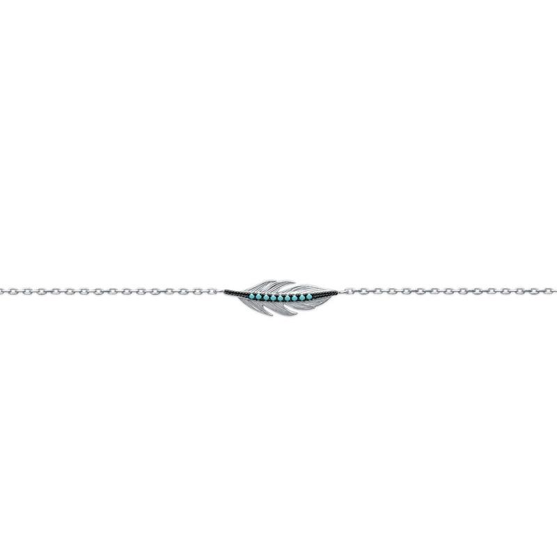 Bracelet Carardor motif plume en argent 925/000 et turquoises