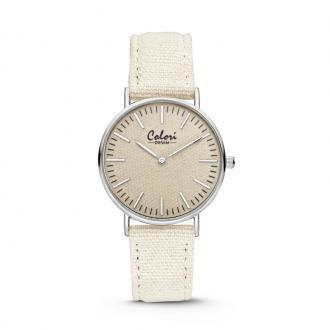 Montre Colori Denin bracelet tissu beige 5-COL416