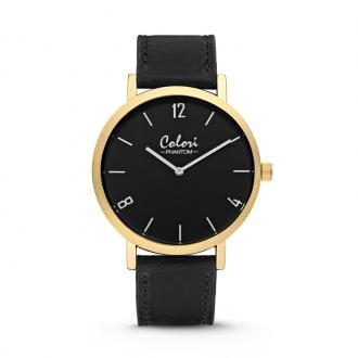 Montre Colori Phantom doré bracelet cuir noir 5-COL440
