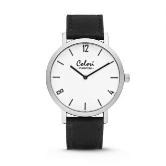 Montre Colori Phantom argentée bracelet cuir noir 5-COL442