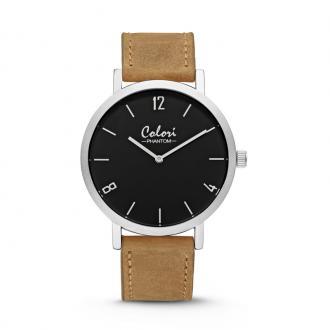 Montre Colori Phantom argentée bracelet cuir camel 5-COL443