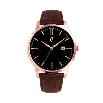 Montre Colori Coinnasseur doré rose cuir marron clair, cadran noir 40 mm 5-COL473