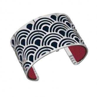 Cuir pour bracelet 40 mm Les Georgettes Bleu pétrole/Framboise 702145799M7000