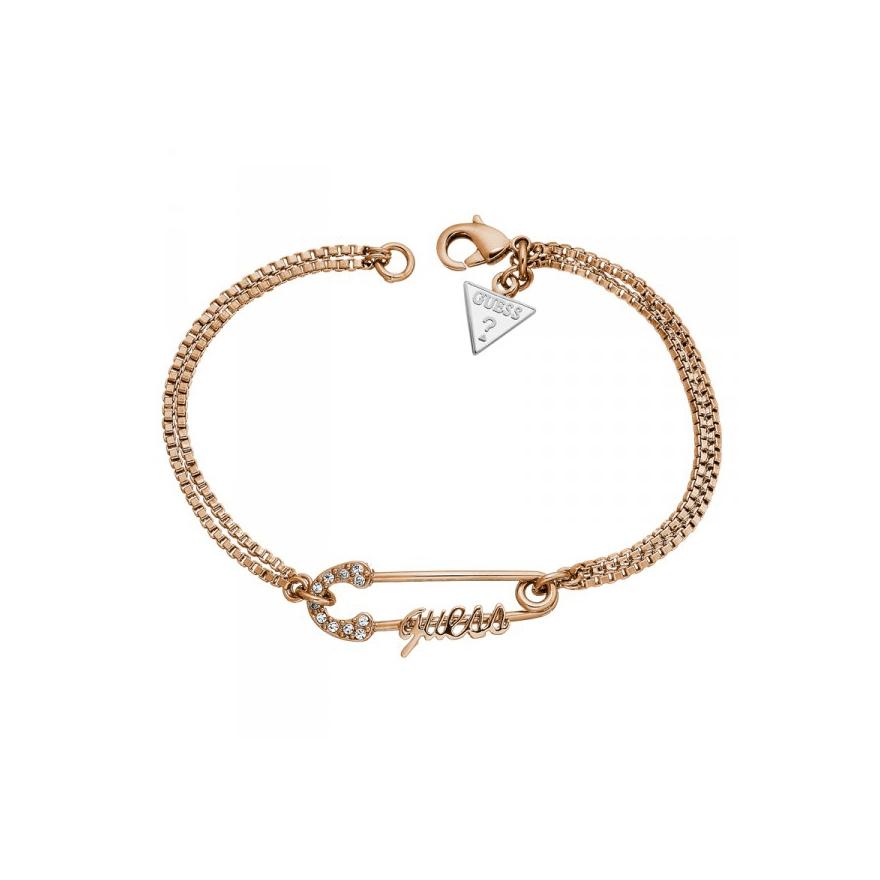 Bracelet Guess double chaine et épingle doré rose UBB11390