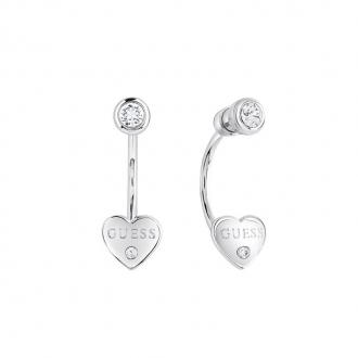 Boucles d'oreilles Guess pendantes motif coeur métal argenté UBE82004