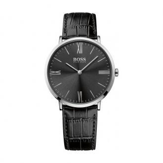 Montre Hugo Boss Jackson cadran noir, bracelet cuir noir 1513369